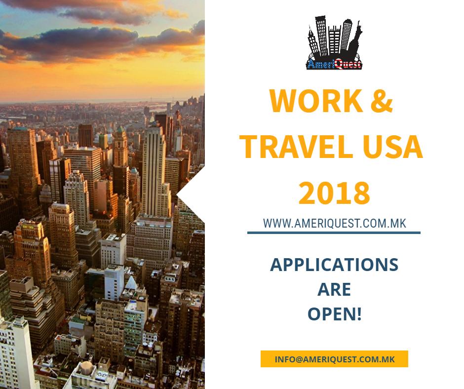 Започна аплицирањето за WORK & TRAVEL USA 2018 – $160 попуст до 30.09.2017!